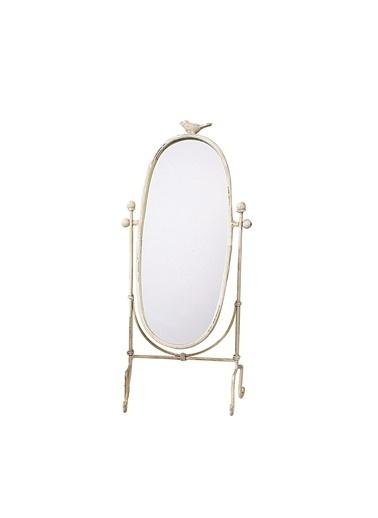 Warm Design Metal Ayaklı Kuş Figürlü Ayna  Beyaz